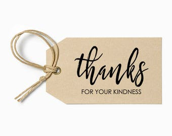 Thanks for you kindness - Pre-Designed Rubber Stamp - Branding, Packaging, Invitations, Party, Wedding Favors - WR007