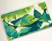 Palm Leaf Clutch Bag, Tropical Print Clutch Bag