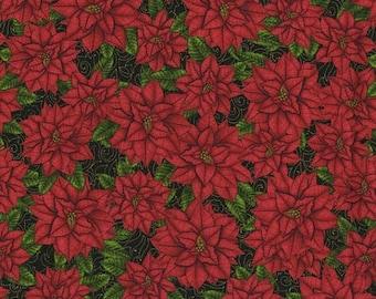 SALE Black Gold Red Poinsettia Christmas Fabric - RJR - Christmas Elegance - 1920