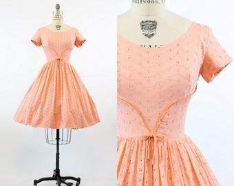 50s Dress Eyelet Lace XS / 1950s Vintage Dress Cotton Lace  / Peachy Keen Dress