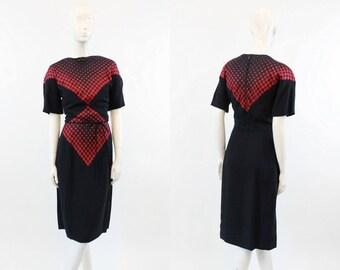 40s  Rayon Dress Medium  / 1940s Vintage Art Deco Dress  / Trick of the Eye Dress