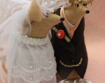 Felt Mice Wedding Couple  Cake Topper  Decoration  Keepsake
