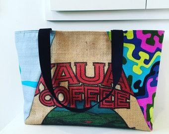 Large Tote/ Beach Bag/ Market Bag/ Kauai Coffee Company / Coffee SackTote