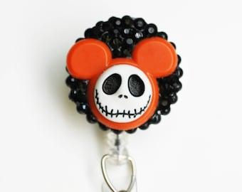 Disney's Jack Skellington Halloween ID Badge Reel - Retractable ID Badge Holder - Zipperedheart