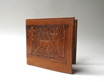 Mid Century vintage Hand Tooled Leather Wallet / Mexican Leather Wallet / Outdoorsman Sportsman Naturalist Woodland Deer Forest Folk Boho