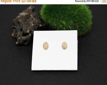 Christmas In July Sale - Fossil Coral Gemstone . SMALL 4x6mm Oval . Sterling Silver Posts Studs Earrings . Shades of Tan and Cream . E17047