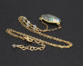 Labradorite Gemstone . Sterling Silver Vermeil and 14k Gold Filled Pendant Necklace . Gray with Aqua Blue Green Flash . N16094