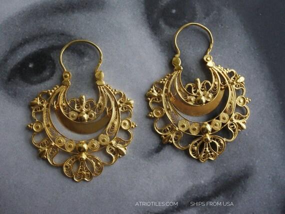 Earrings Filigree Silver Portugal  24k Gold Bath Queen's Earrings - Brincos da Rainha MADE in PORTUGAL Ships from USA