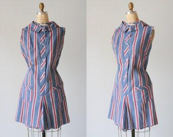 Vintage 1960s Romper Playsuit One Piece Short Set / Scooter Dress Style