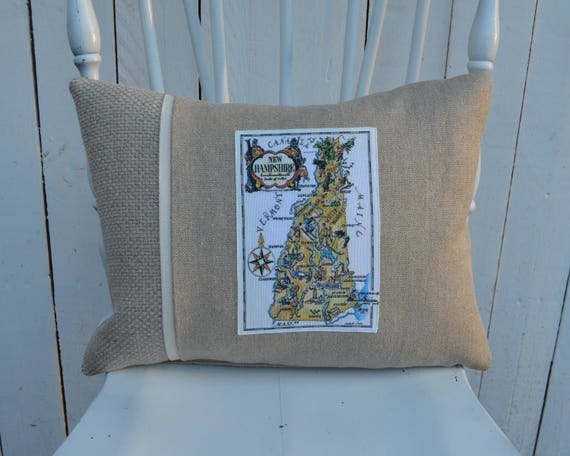 Vintage New Hampshire Map Pillow