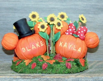 Disney Inspired Mickey and Minnie Polymer Clay Pumpkin wedding Cake Topper or Keepsake