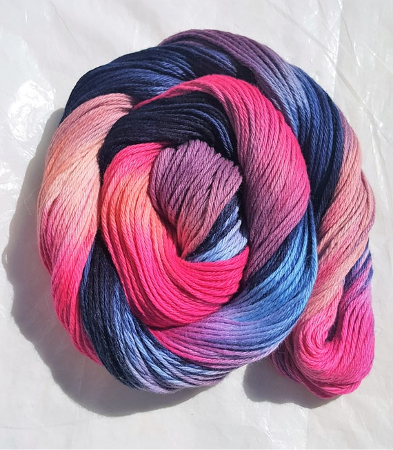 Last Light- 100 Organic Cotton Yarn, Hand Dyed, Hand Painted, Variegated