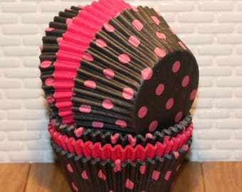 Black & Pink Polka Dot Cupcake Liner Collection (Qty 50) Black and Pink Polka Dot Baking Cups, Pink Cupcake Liners, Pink Baking Cups