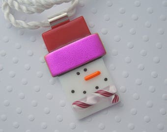Snowman Necklace - Christmas Ornament - Snowman Jewerly - Dichroic Fused Glass Pendant - Christmas Pendant - Christmas Jewelry X1861
