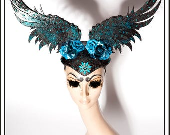 Starry Night Sands… Wings In Dark Blue Turquoise and Black With Flowers Rhinestones Jewels Headdress