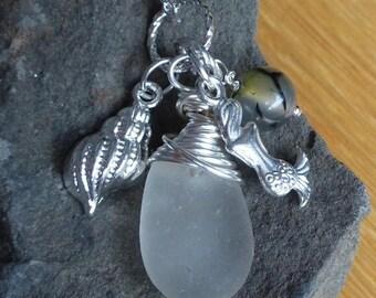 ON SALE Sea Glass Necklace Wire wrapped Sea Glass mermaid tears