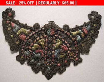 Antique Applique Metallic Silk Embroidered Trim