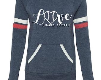 Love j-hawk softball sweatshirt