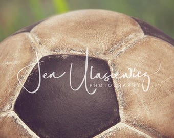 Vintage Soccerball in Grass Sports Photography Print, macro, man cave, boys room, nursery, still life