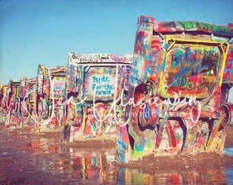 Cadillac Ranch Photography Print, man cave, cars