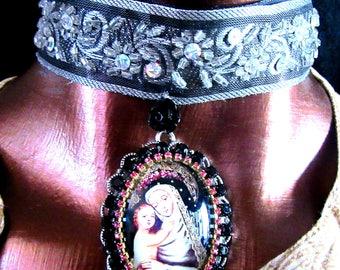 Catholic St, Rose of Lima, Patroness Family Problems, With Baby Jesus Pendant Religious Handmade Jacquard Ribbon Choker Necklace