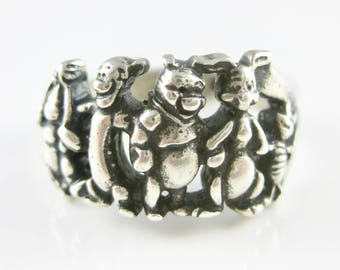 Size 8 - Vintage Disney Winnie The Pooh Friends Sterling Silver Ring