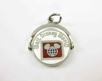 Charm - Sterling Silver - Walt Disney World Charm - Enamel Spinner Charm - Movable Parts - White Enamel Sterling - Vacation Charm