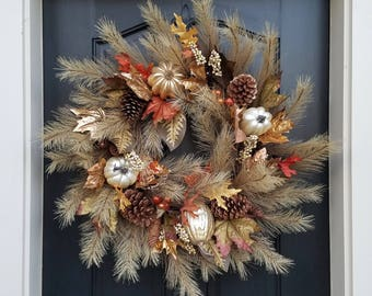 Fall Harvest Wreath, Harvested Fields, Gourds Wreath, Fall Berry Wreaths, Fall Foliage