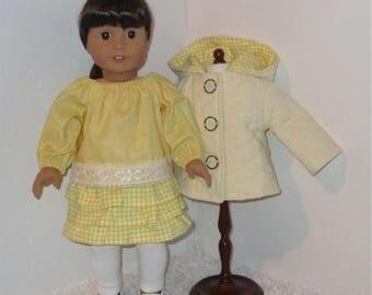 "Yellow and White 4-Piece Jacket Set, Fits 18"" Dolls // AG Doll Jacket, American Girl Jacket, Doll Skirt, Blouse, Leggings, Doll Jacket Set"
