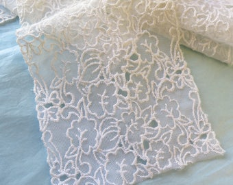 "Embroidered Tulle Lace Trim in White Vintage 1920's 78"" x 4 -1/4"" Wide"