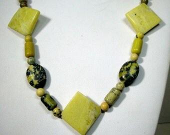 SET, Olive Jasper Stone Bead Necklace and Bracelet, OOAK by Rachelle Starr 1990s, Sale SET, Destash Price