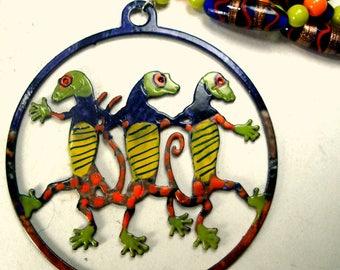 Hand Painted Dancing Lizards Pendant On Glass Beaded Necklace, Orange Cobalt Lime, OOAK Rachelle Starr 2016
