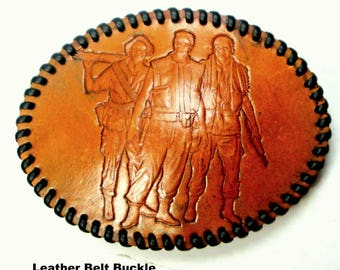 War Buddy 3 Soldiers Belt Buckle, Tooled Leather, Whip Stitched Edge, Mans Belt Buckle, Honoring Vietnam Vets, Military, Army,