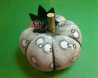 Size 3 |White/Black Fabric Pumpkin | Halloween Decor | Fall Decor |Stuffed Pumpkin | Thanksgiving Decor | Handmade Gift | Pincushion | #2
