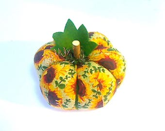 Size 4 | Sunflower Print |Fabric Pumpkin |Fall Decor | Thanksgiving Decor |Handmade Gift |Halloween Decor |Folk Art | Shelf Sitter | #16