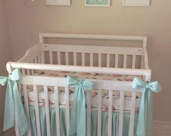 Mini Crib Bedding Set in Mint Coral Peach and Gray Tribal Arrows with Bows