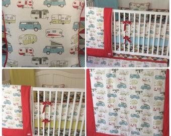 TWINS Boy Girl Baby Bedding Aqua Red Green Retro Camper Crib Set Made to Order