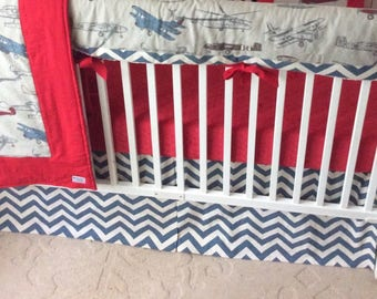 Baby Boy Crib Bedding Set Bumperless in Vintage Airplanes Red and Blue Made to Order