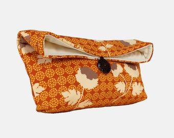 Makeup Bag, Orange Floral Clutch Purse, Orange Clutch, Great for Travel, Bridesmaid Gift, Gift Under 25