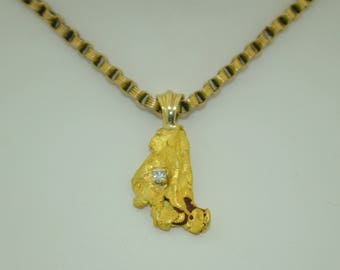 18K Gold Nugget & diamond pendant