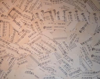 """100 Large 2"""" Die Cut Circles from Antique Folk Music for Paper Crafting"""