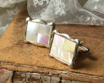 Handsome Mother of Pearl Paneled Gold Tone Cuff Links Unsigned 1960's 1970's Man Jewelry Rectangular Scalloped Edge Masculine Formal Look