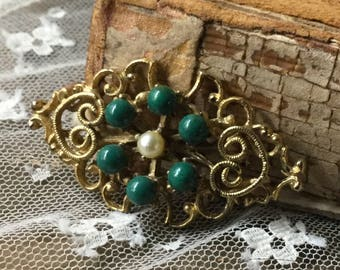 Smallish Florenza Styled Faux Jade Faux Pearl Cabochon Gold Tone Open Work Brooch Pin 1950's 1960's Hearts Filigree Green White Balls