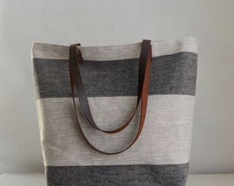 Black Wide Stripe Linen Tote Bag with Leather Handles - READY TO SHIP