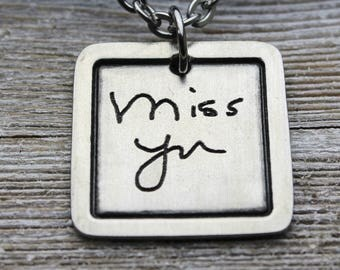 Custom Men's Handwriting Chelsea Pendant Necklace with your loved one's actual handwriting, Fine Pewter