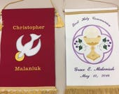 Confirmation and Communion Banners Embroidered Set for Siblings RESERVED