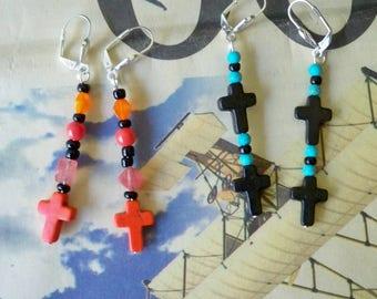 Set of 2 - Dangle beaded earrings - Crosses - Boho chic - Bohemian earrings - One of a Kind - bycat