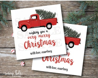 Personalized Printable Christmas Tags, Printable Christmas Truck Labels,  Watercolor Christmas Truck Tags, Merry Christmas Labels