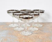 silver rim champagne glasses, vintage 60s champagne coupe, mid century cocktail glasses
