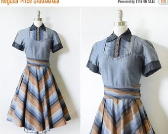 20% OFF SALE vintage 50s dress, 1950s chevron dress, rockabilly dress with rhinestone buttons, chambray shirt dress, medium m